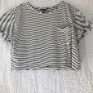 Topshop Cropped Stripped T-Shirt